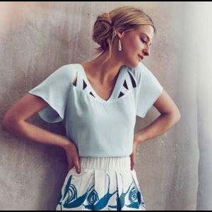 Maeve Anthropologie Light Blue Cutout Top